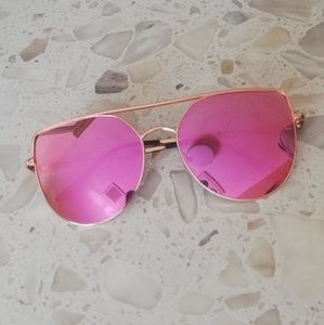 Pink reflective flat top cat eye sunglasses